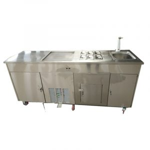 2019 New style Single Round Pan With sink and refrigerator  business fried  ice cream rolls machine