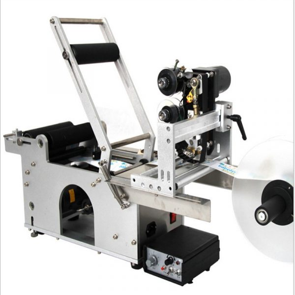 manual round bottle labeling machine with date printing machine for PET,plastic,glass and metal bottle