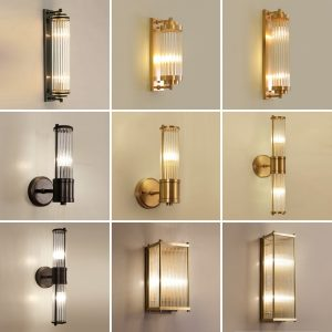 Modern Crystal Black Wall Lights LED Besides Bathroom Light Gold  Wall Lamps For Living Room Bedroom Decor Indoor Light Fixtures