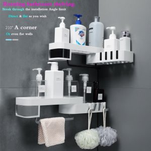 Rotatable Storage Rack Shelving Wall Plastic Suction Cup Kitchen Storage Rack Organizer Shower Shelf Bathroom Accessories