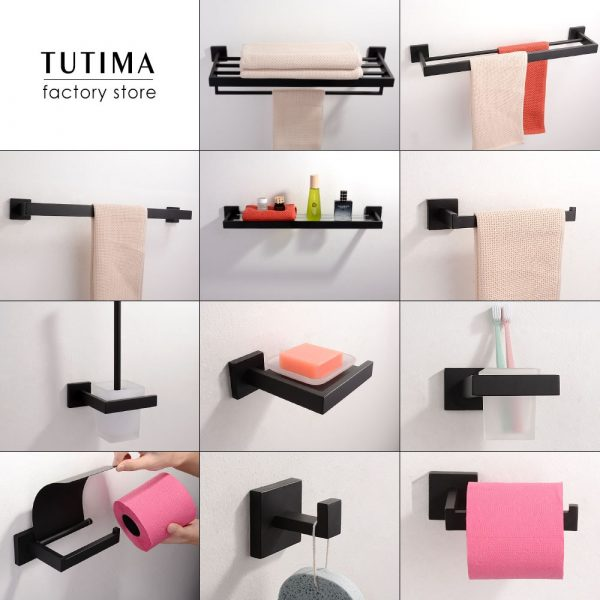 Tutima 304 Stainless Steel Matte Black Bathroom Hardware Set High Quality Towel Rack Ring shelf Paper Holder Bathroom Hooks
