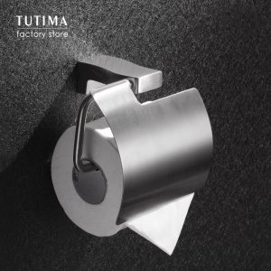 Tutima Brushed Toilet Paper Holder Toilet Roll Holder Wall Mounted Bathroom Paper Holder Bathroom Accessories Paper Shelf
