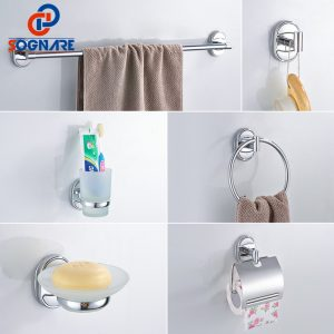 SOGNARE 6PCS/SET Bathroom Accessories Set Single Towel Bar, Robe Hook, Paper Holder, Cup Holder,Soap Box Bath Hardware Sets 1600