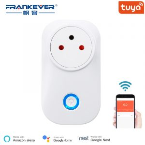 FrankEver Tuya Cloud 10A 16A WiFi Smart Socket Power Israel Monitor Wireless Plug Work With Alexa Google Home Smart Household