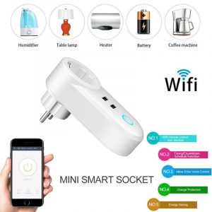 Smart WiFi Power EU Plug Outlet Socket with USB Remote Control App Control Timer Function Work with Alexa Google Home assistant