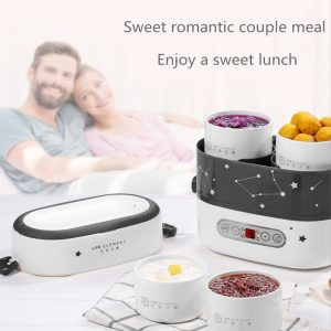 Smart Electric Lunch Box Small Rice Cooker Double Layer Automatic Heating Ceramic Liner Smart Touch LCD Appointment Timing