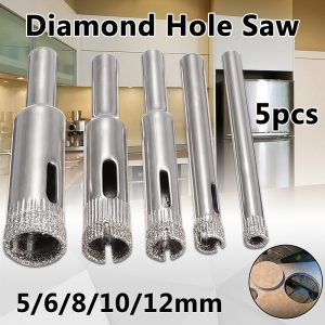 5pcs Diamond Coated Hole Saw Marble Cutter Drill Bits Tool Set For Tile Glass 5/6/8/10/12mm