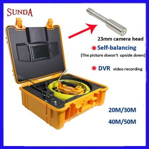 9inch Pipe Sewer drain underground plumbing Inspection Camera auto self balancing 23mm camera head DVR self level