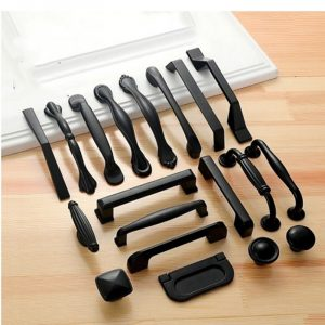 American Style Black Cabinet Handles Solid Aluminum Alloy Kitchen Cupboard Pulls Drawer Knobs Furniture Handle Hardware
