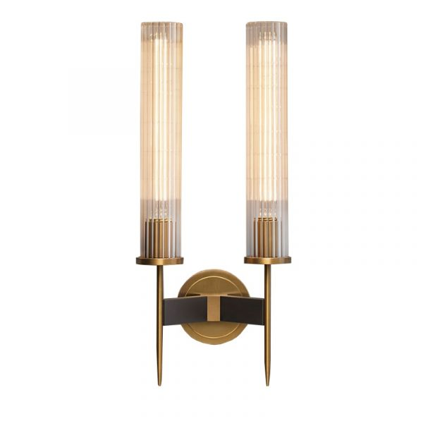 Antique brass wall lamp glass cylinder shade home indoor decorative wall lights in bedroom bedside wall mounted sconce interior