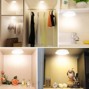 3/6Pcs LED Touch Control Round Cabinet Light Intelligent Remote Control Light Indoor Lighting Lamp Night Lamp
