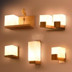 Modern Led Wooden Wall Lamps Nordic Frosted Glass Wood Lights Sconce Hallway Aisel Hotel Bedroom Minimalist Solid Wood Corridor
