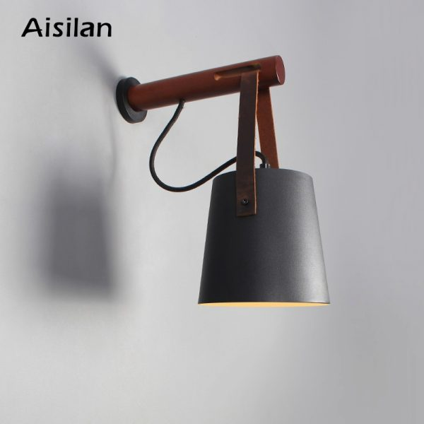 Aisilan LED Wall Lamps  for Living Room/Bed Room/Corridor Wall Sconces Light E27 Bulb Nordic Wooden  Wall Light