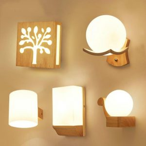 Nordic Wall Wood Light Glass Lampshade Corridor Balcony Bedside LED Side Wall Lamps Interior for Home Decor