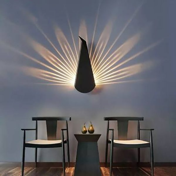 Modern Peacock Tail Wall Lamp Indoor Lighting Led Wall Light for Home Bedroom Study Hallway Corridor Wall Sconce Light Fixtures