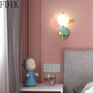 Modern Leaves Wall Lamp Simple Glass Led Wall Sconces Light Fixtures for Bedroom Children Room Corridor Indoor Decor Lighting G9