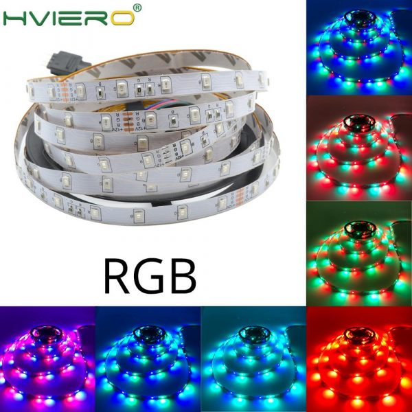 5m 2835 3528 LED Strip Desk Lamp RGB White Red Green Blue Yellow 300Leds IR Remote Controller Holiday Light Night Garden Light