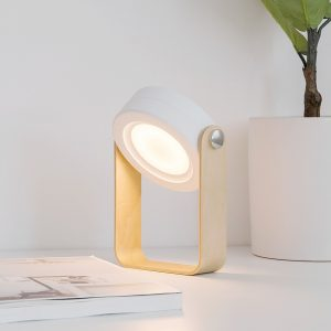 Led Portable Lantern Light With Wood Handle Multifunction collapsible Rechargable dimmable as creative desk light  Nightlight