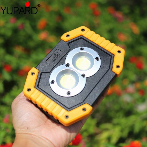 Portable Work Floodlight Tent Camping Light  20W  USB Rechargeable COB LED Flashlight Searchlight  Spotlight AA or18650 battery
