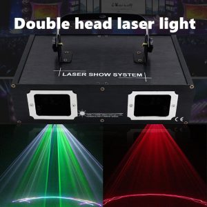 Hot sales 2 Lens Red Green Blue RGB Beam Laser Light DMX 512 Professional DJ Party Show Club Holiday Home Bar Stage Lighting