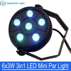 RGB LED Stage Par Light DJ Equipment 6X3W Mini Portable Disco Lights Lamp Voice Activated 18W for KTV Bar Party Wedding Lighting