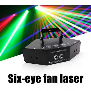 6 Eyes Double Red Green Blue RGB Beam Ray Network Cross Projector Laser Lights DMX DJ Disco Party Show Stage Lighting
