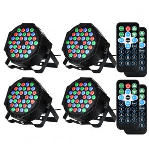 SOLLED 4 Packed 36 LED Par Lights RGB Colorful 7 Lighting Modes Stage Lights Flexible Remote Control DMX Control Disco Lights US