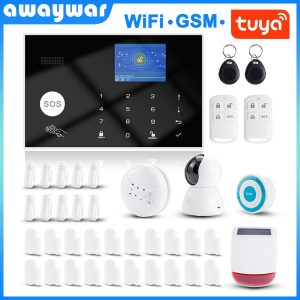 Awaywar Tuya 433MHz Wireless WIFI GSM RFID Security Alarm System kit APP Remote Control Burglar Smart Home PIR Door Detector