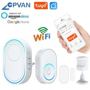 CPVAN Wireless Doorbell Alarm System Smart WIFI Doorbell Strobe Siren Tuya App 58 Sound Compatible Home Security Alarm System