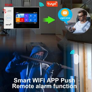Awaywar Tuya WIFI GSM home Security smart Alarm System  Burglar kit  touch screen Tuya APP Remote Control RFID Arm Disarm 433MHz