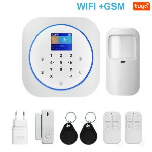 Smart WIFI GSM Home Security Alarm System with Touch Keyboard & Wireless IP Video Camera & Tuya Alexa Google Home APP Control
