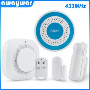 Awaywar 433MHz Wireless Security Burglar Alarm System strobe siren kit PIR Motion/Door Sensor Fire Smoke Detector for Smart Home