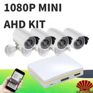 Super Mini 4ch AHD Digital Video Recorder DVR with 4pcs of  1080P AHD Cameras & 15m Cables kit with free iCloud & APP Monitor