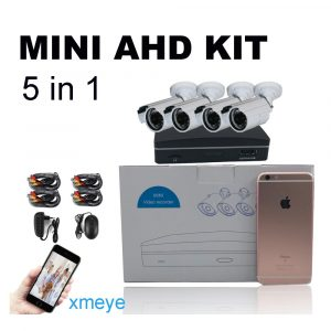Super Mini 4ch AHD Digital Video Recorder DVR with 4pcs of  720P AHD Cameras & 15m Cables kit with free iCloud & APP Monitor