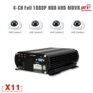 H.264 Surveillance Security CCTV 4 channels X11 1080p mobile dvr kit with 4 cameras for taxi bus car