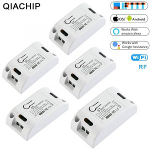 QIACHIP Smart Home DIY Automation Modules 110V 220V 433Mhz RF & WiFi Light Switch Tuya Smart Life APP Amazon Alexa Google Home
