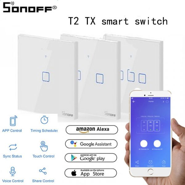 SONOFF T2 TX Smart Panel with 3 Gangs for Alexa Amazon Google Home Smart Home Home Automation The WiFi Smart Switch EU&UK&US