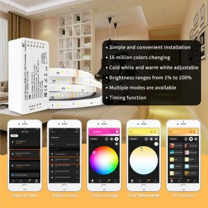 GLEDOPTO DC12-24V Smart RGBW/RGBCCT LED ZigBee Strip Controller, Automation devices, Alexa Voice control, Phone App control