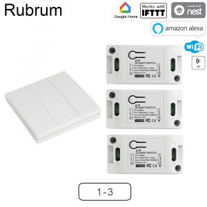 Rubrum WiFi Push Switch Light 433Mhz Wall Remote Relay Timer Module Automation Tuya Smart Life APP For Google Home Amazon Alexa