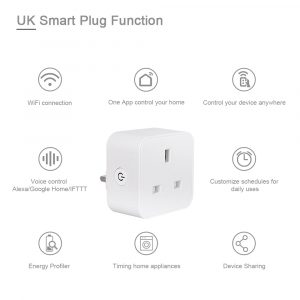 UK WiFi Switch Mini Socket Plug Wireless Extender Remote Outlet Adaptor Wattmeter Smart Home Automation Alexa Google Compatible